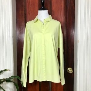 Eileen Fisher lime yellow button down shirt